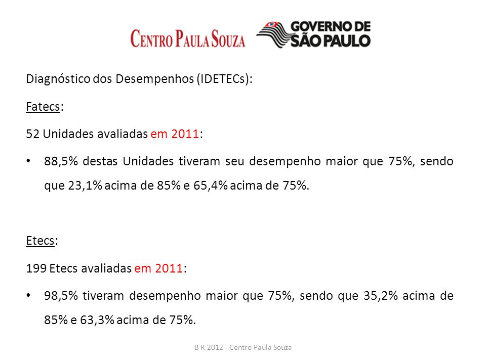 Diagnóstico dos Desempenhos (IDETECs): Fatecs: 52 Unidades avaliadas em 2011: 88,5% destas Unidades tiveram seu desempenho maior que 75%, sendo que 23,1% acima de 85% e 65,4% acima de 75%.