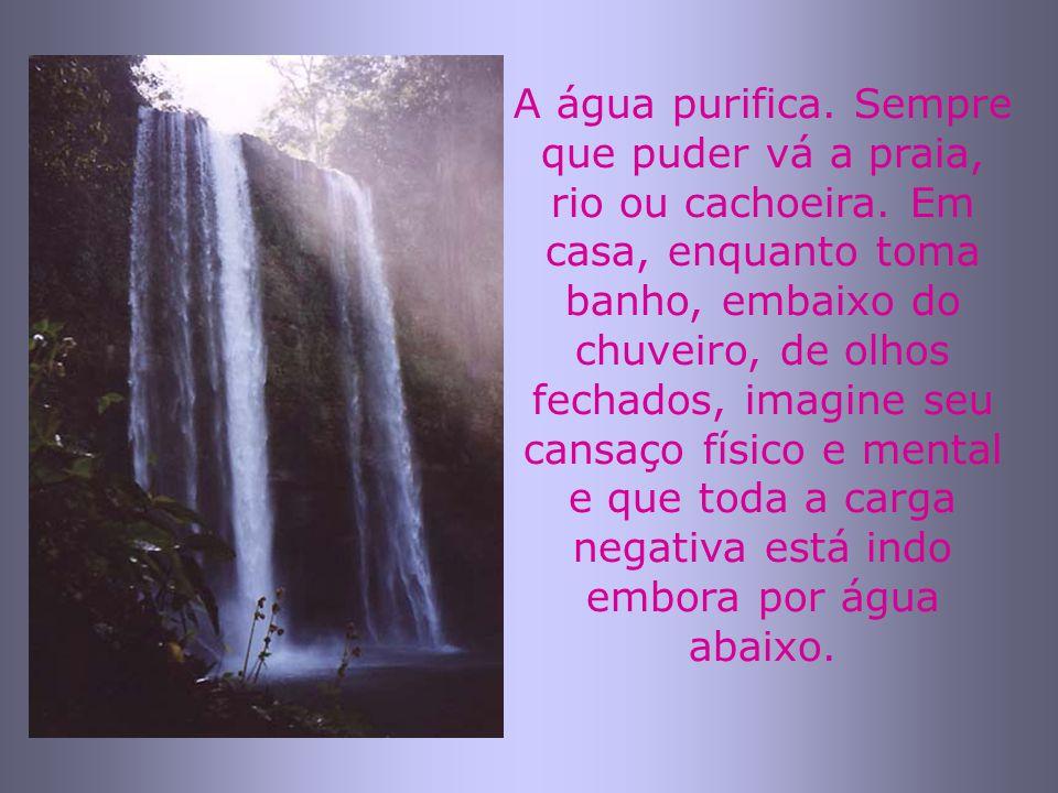 A água purifica. Sempre que puder vá a praia, rio ou cachoeira. Em casa, enquanto toma banho, embaixo do chuveiro, de olhos fechados, imagine seu cans