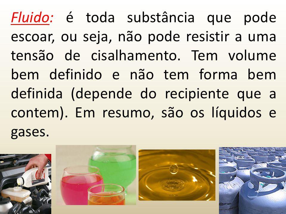 Massa Específica ( ) ou Densidade (d) Estabelece a quantidade de massa presente em um determinado volume.
