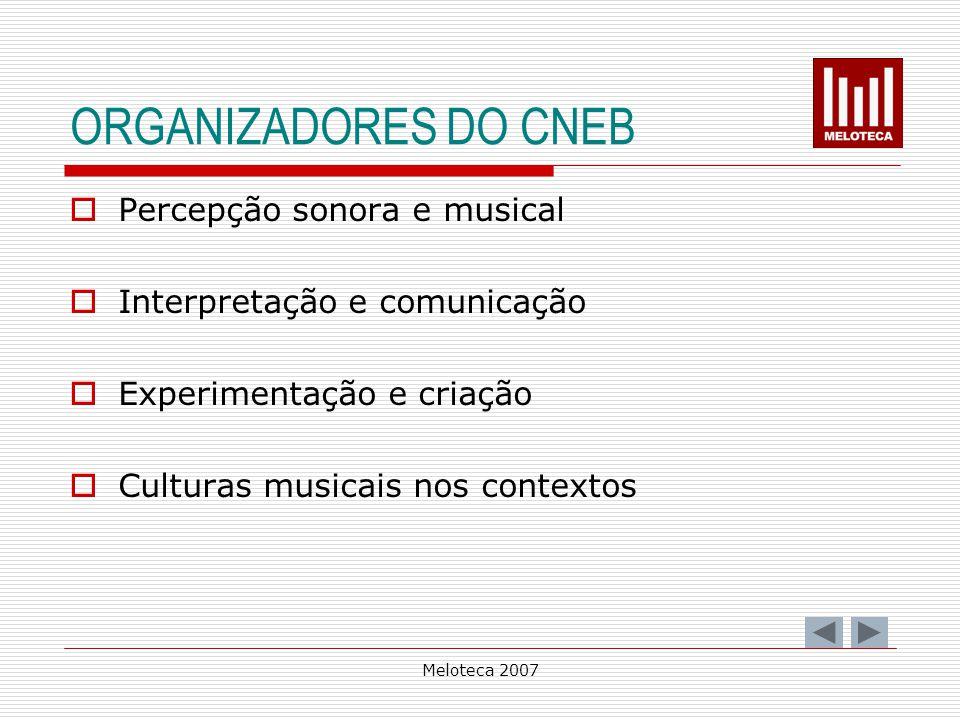Meloteca 2007 ORGANIZADORES DO CNEB Percepção sonora e musical Interpretação e comunicação Experimentação e criação Culturas musicais nos contextos