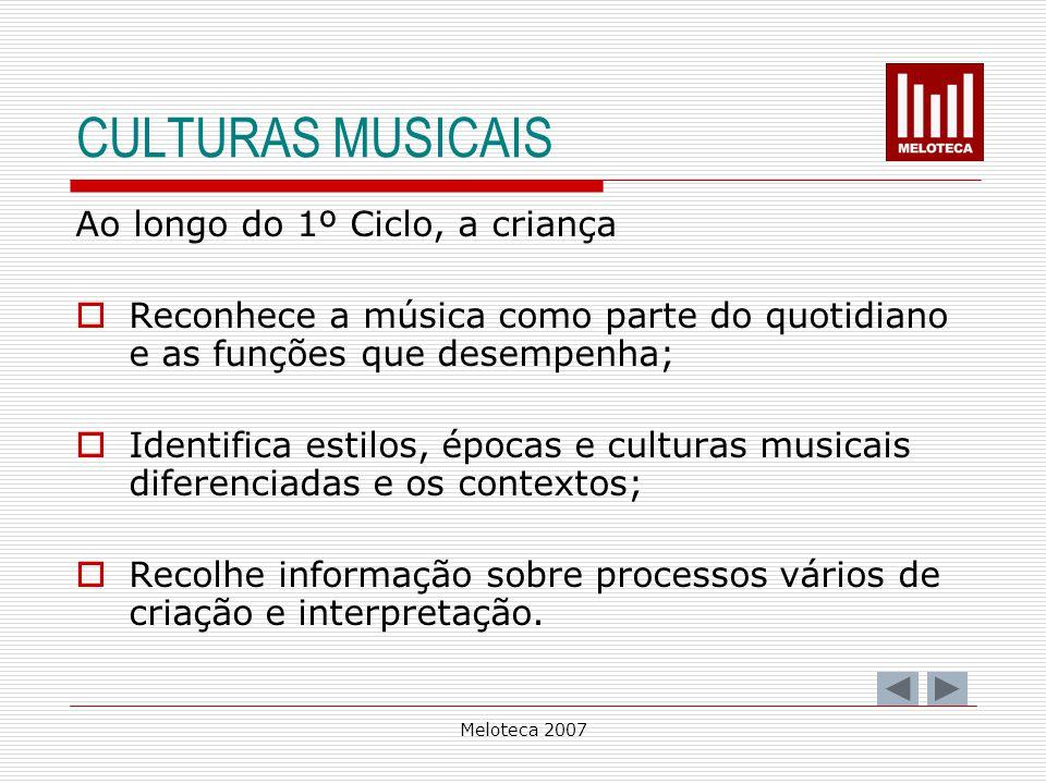 Meloteca 2007 CULTURAS MUSICAIS Ao longo do 1º Ciclo, a criança Reconhece a música como parte do quotidiano e as funções que desempenha; Identifica es