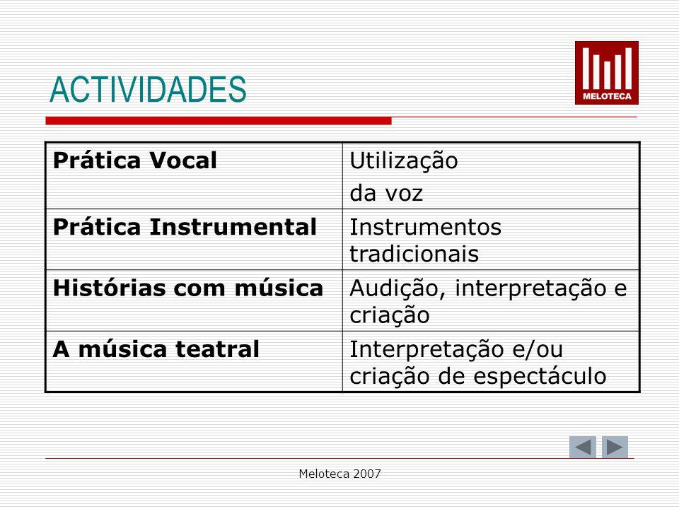 Meloteca 2007 ACTIVIDADES Prática VocalUtilização da voz Prática InstrumentalInstrumentos tradicionais Histórias com músicaAudição, interpretação e cr
