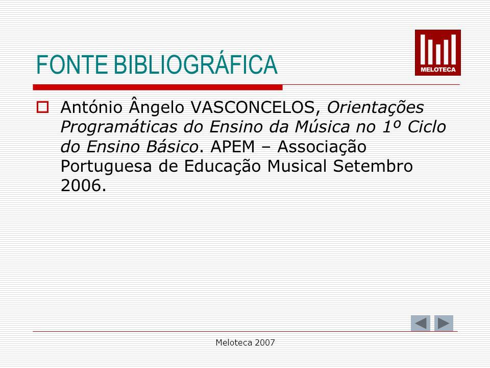 Meloteca 2007 FONTE BIBLIOGRÁFICA António Ângelo VASCONCELOS, Orientações Programáticas do Ensino da Música no 1º Ciclo do Ensino Básico. APEM – Assoc