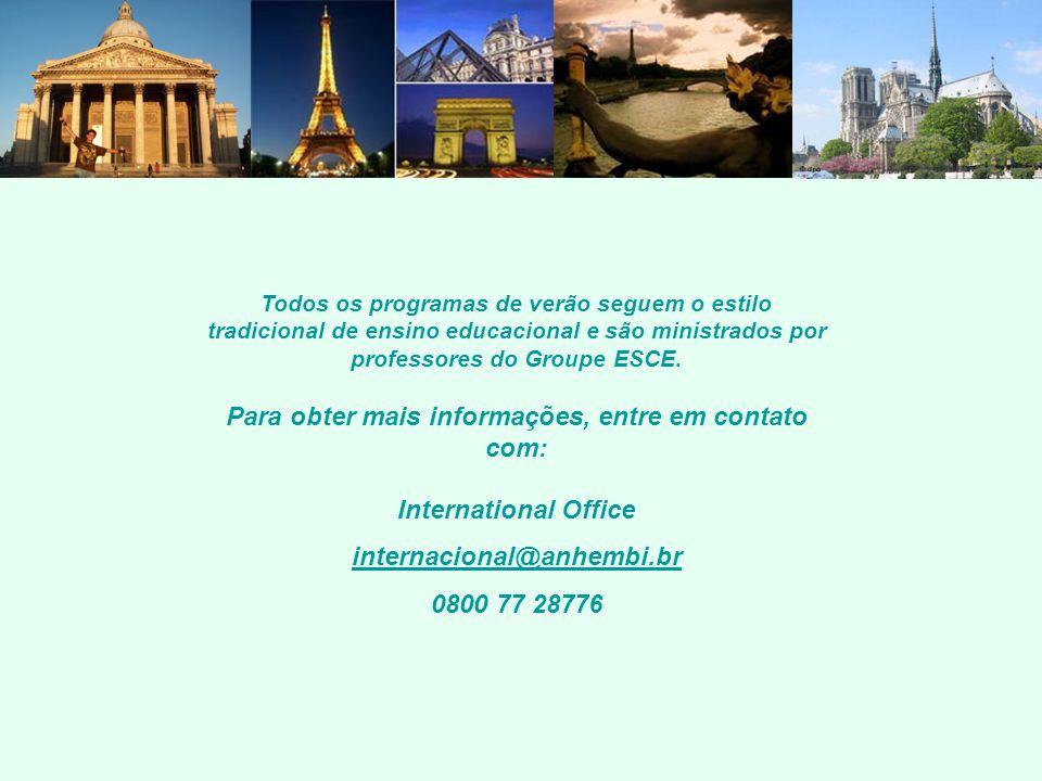 Todos os programas de verão seguem o estilo tradicional de ensino educacional e são ministrados por professores do Groupe ESCE.