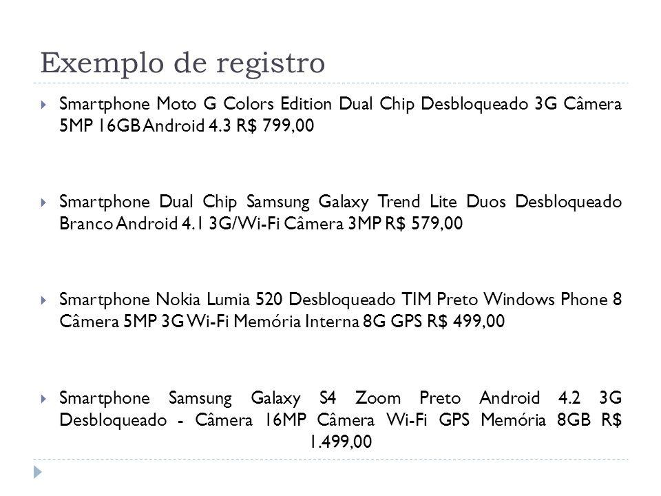 Exemplo de registro Smartphone Moto G Colors Edition Dual Chip Desbloqueado 3G Câmera 5MP 16GB Android 4.3 R$ 799,00 Smartphone Dual Chip Samsung Gala