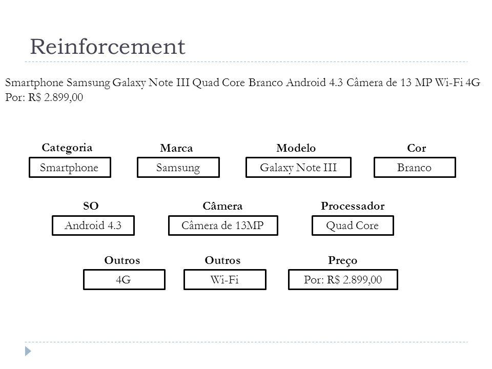 Reinforcement Smartphone Smartphone Samsung Galaxy Note III Quad Core Branco Android 4.3 Câmera de 13 MP Wi-Fi 4G Por: R$ 2.899,00 SamsungGalaxy Note