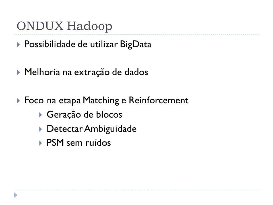 ONDUX Hadoop Possibilidade de utilizar BigData Melhoria na extração de dados Foco na etapa Matching e Reinforcement Geração de blocos Detectar Ambigui