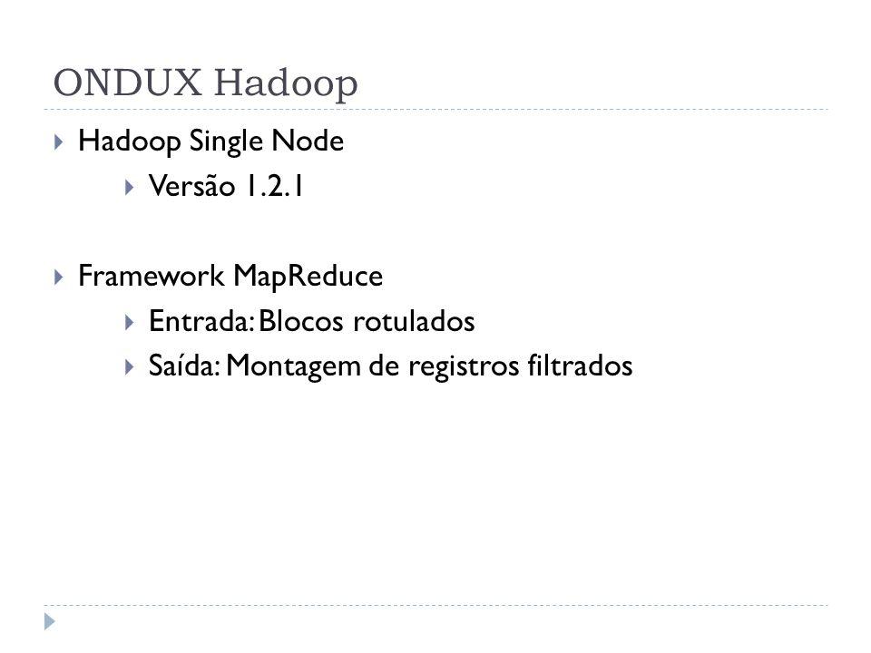 ONDUX Hadoop Hadoop Single Node Versão 1.2.1 Framework MapReduce Entrada: Blocos rotulados Saída: Montagem de registros filtrados