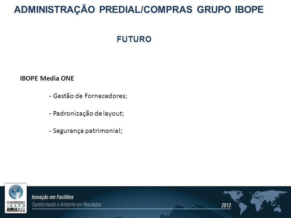 FUTURO IBOPE Media ONE - Gestão de Fornecedores; - Padronização de layout; - Segurança patrimonial; ADMINISTRAÇÃO PREDIAL/COMPRAS GRUPO IBOPE