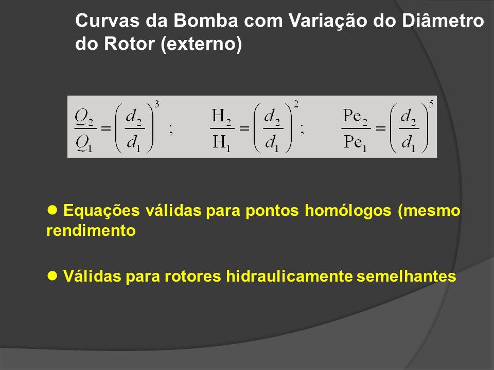 Usinagem do Rotor Equações válidas para pontos homólogos (mesmo rendimento Válidas para pequenas variações de diâmetro (<20%) No caso de usinagem (raspagem) do rotor, as equações recomendadas são: ou Em caso de raspagem do rotor, consultar sempre o fabricante para determinação correta do diâmetro