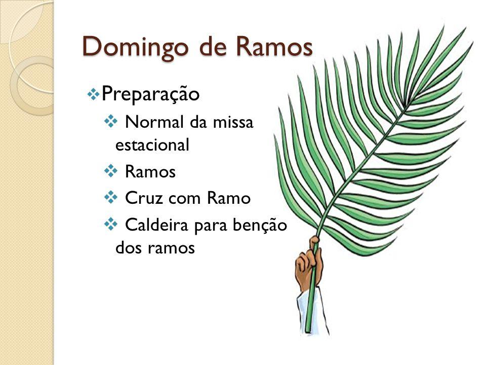 Domingo de Ramos Preparação Normal da missa estacional Ramos Cruz com Ramo Caldeira para benção dos ramos