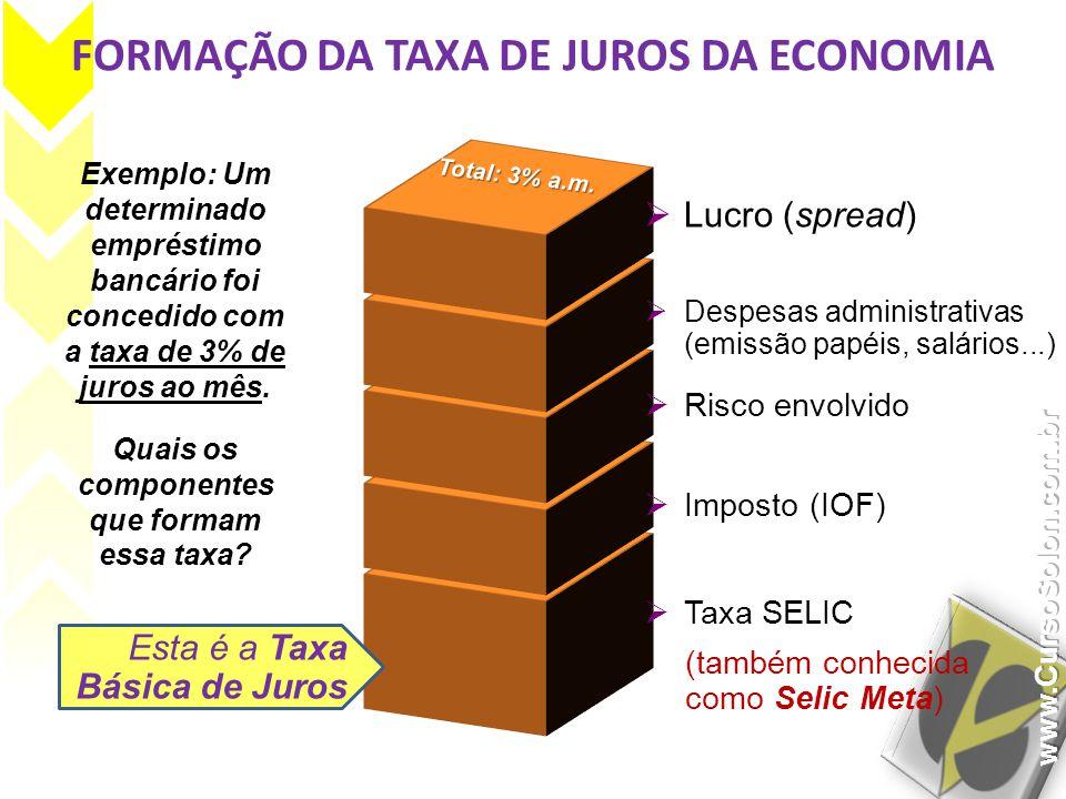 FORMAÇÃO DA TAXA DE JUROS DA ECONOMIA Exemplo: Um determinado empréstimo bancário foi concedido com a taxa de 3% de juros ao mês. Quais os componentes