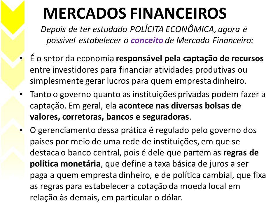 MERCADOS FINANCEIROS Depois de ter estudado POLÍCITA ECONÔMICA, agora é possível estabelecer o conceito de Mercado Financeiro: É o setor da economia r