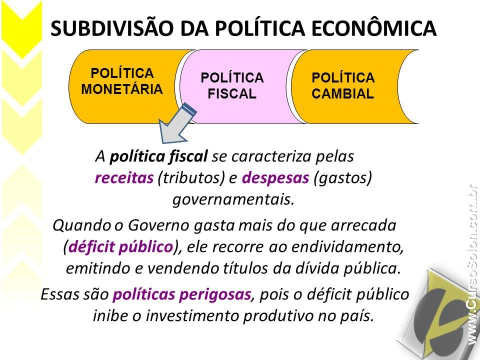 SUBDIVISÃO DA POLÍTICA ECONÔMICA POLÍTICA MONETÁRIA POLÍTICA FISCAL POLÍTICA CAMBIAL A política fiscal se caracteriza pelas receitas (tributos) e desp