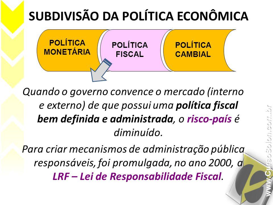 SUBDIVISÃO DA POLÍTICA ECONÔMICA POLÍTICA MONETÁRIA POLÍTICA FISCAL POLÍTICA CAMBIAL Quando o governo convence o mercado (interno e externo) de que po