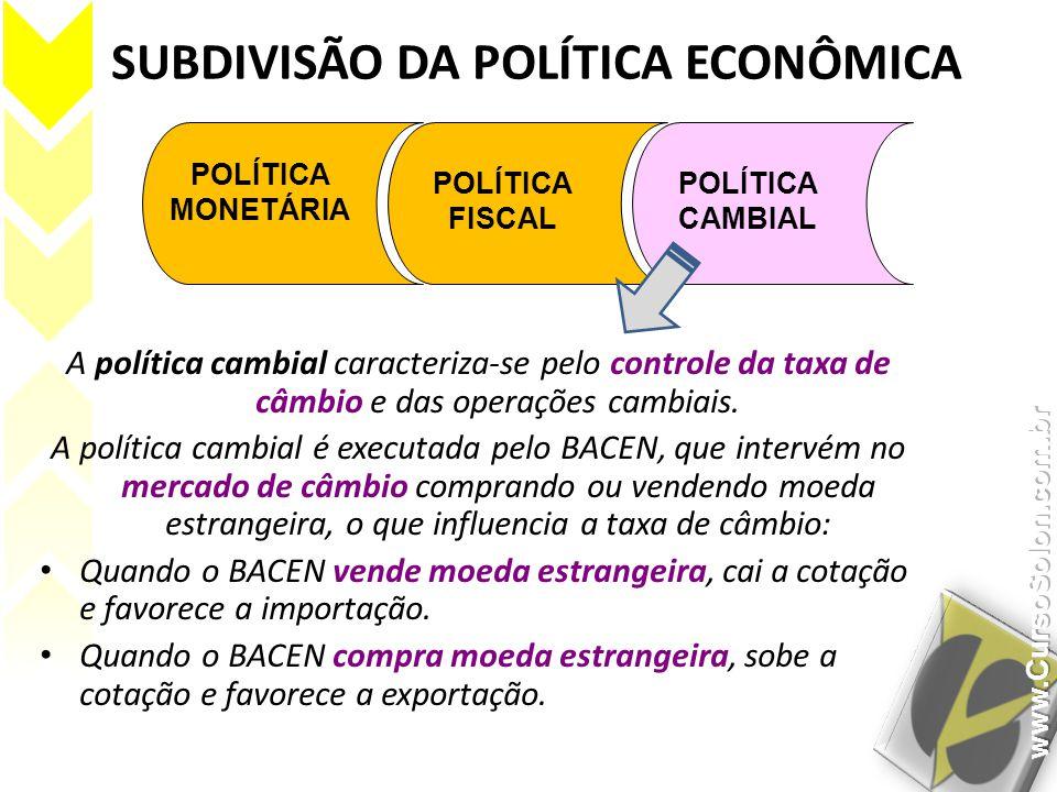 SUBDIVISÃO DA POLÍTICA ECONÔMICA POLÍTICA MONETÁRIA POLÍTICA FISCAL POLÍTICA CAMBIAL A política cambial caracteriza-se pelo controle da taxa de câmbio