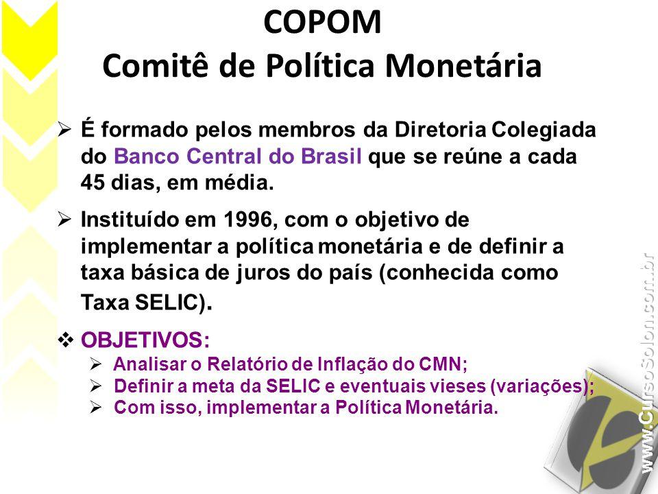 COPOM Comitê de Política Monetária É formado pelos membros da Diretoria Colegiada do Banco Central do Brasil que se reúne a cada 45 dias, em média. In