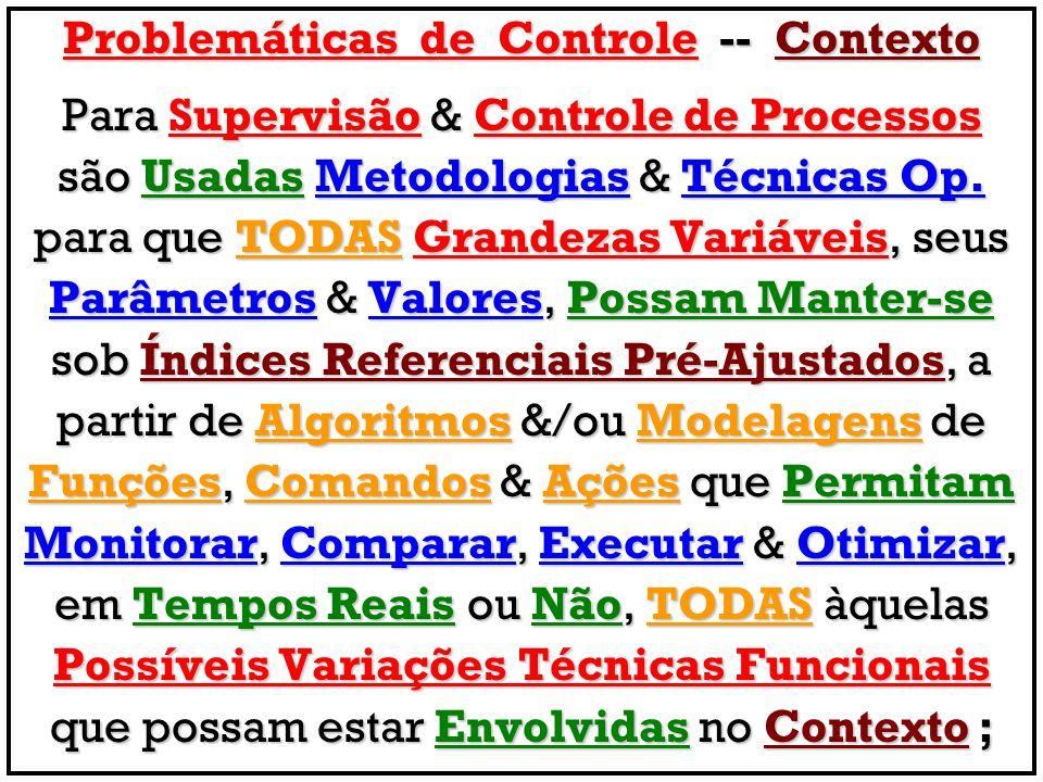 Problemáticas de Controle -- Contexto Para Supervisão & Controle de Processos são Usadas Metodologias & Técnicas Op.