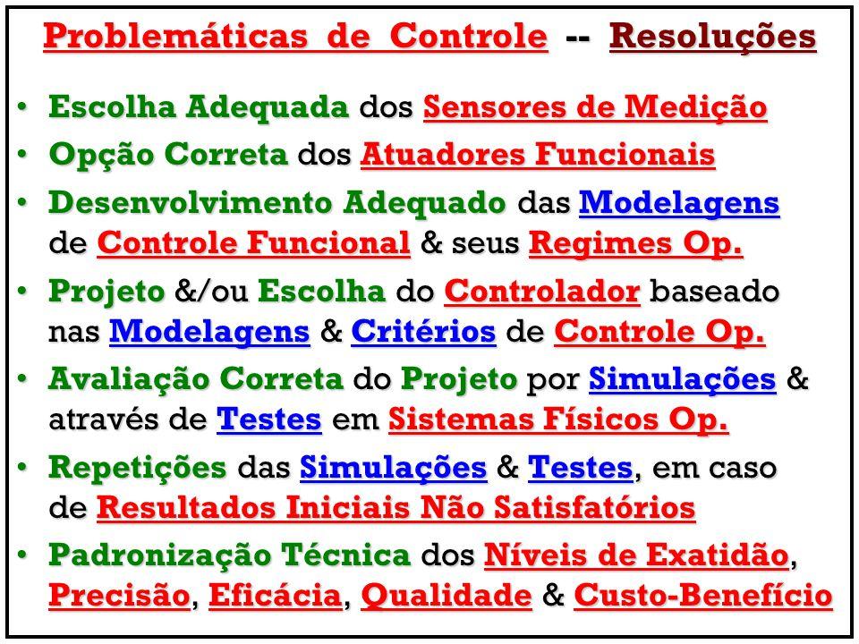 Problemáticas de Controle -- Resoluções Escolha Adequada dos Sensores de MediçãoEscolha Adequada dos Sensores de Medição Opção Correta dos Atuadores FuncionaisOpção Correta dos Atuadores Funcionais Desenvolvimento Adequado das Modelagens de Controle Funcional & seus Regimes Op.Desenvolvimento Adequado das Modelagens de Controle Funcional & seus Regimes Op.