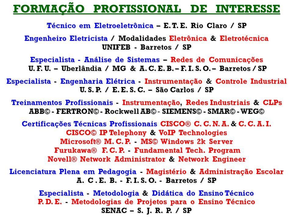 FORMAÇÃO PROFISSIONAL DE INTERESSE Técnico em Eletroeletrônica – E.