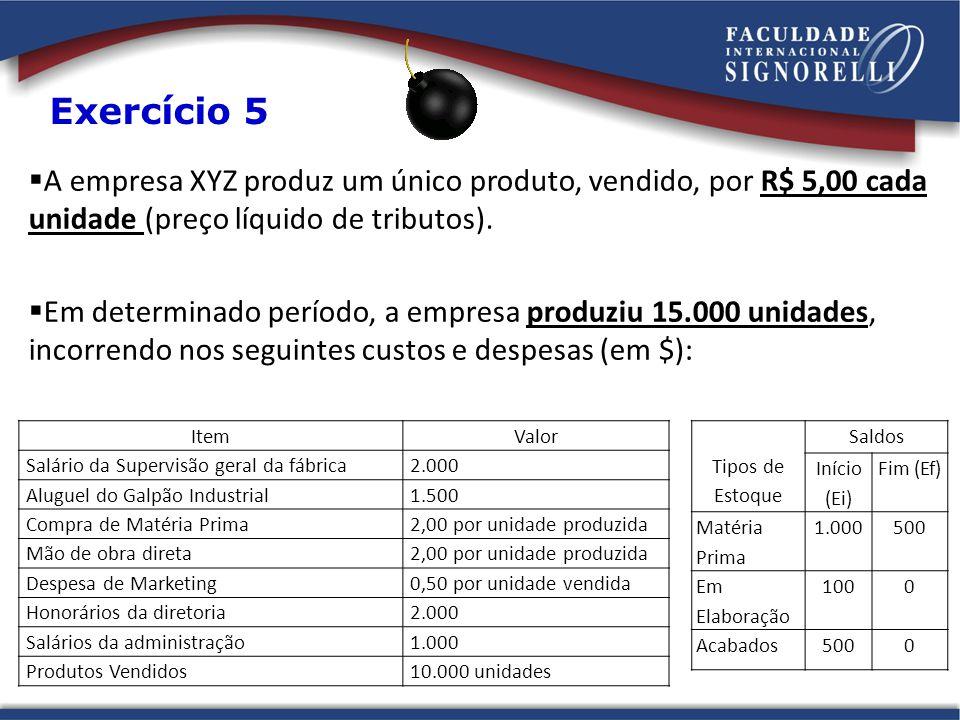 A empresa XYZ produz um único produto, vendido, por R$ 5,00 cada unidade (preço líquido de tributos).