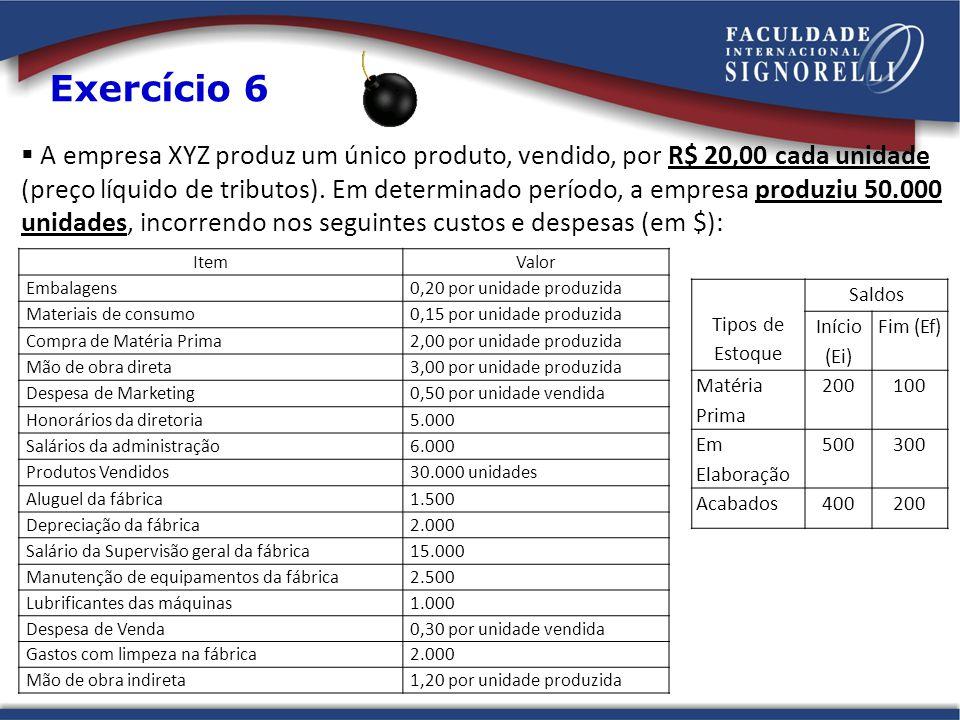 A empresa XYZ produz um único produto, vendido, por R$ 20,00 cada unidade (preço líquido de tributos).
