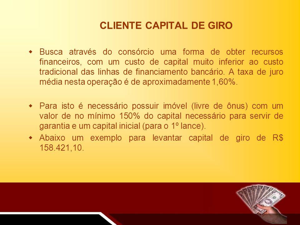 CLIENTE CAPITAL DE GIRO Busca através do consórcio uma forma de obter recursos financeiros, com um custo de capital muito inferior ao custo tradicional das linhas de financiamento bancário.