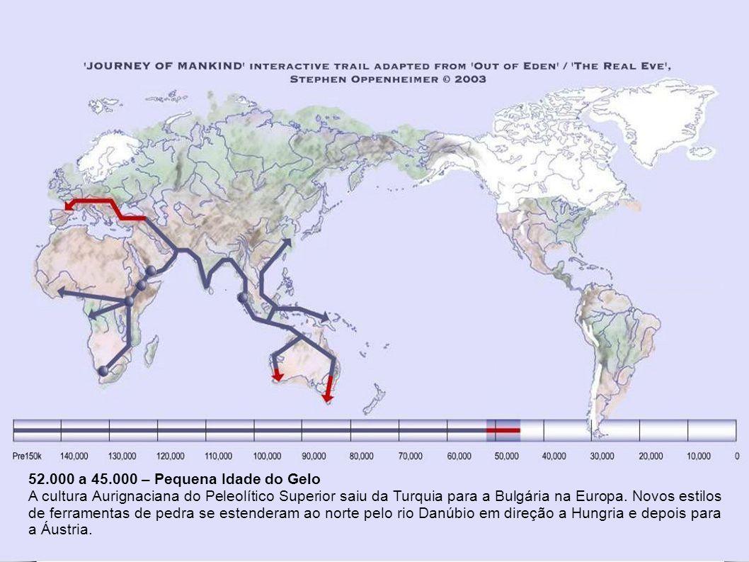 65.000 a 52.000 Um dramático aquecimento global há 52 mil anos finalmente permitiu que alguns grupos pudessem se dirigir ao norte pela Crescente Fértil para retornar a Ásia Menor.