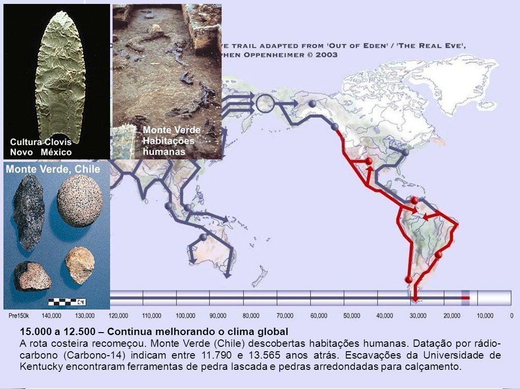 19.000 a 15.000 – Último Máximo Glacial Na América do Norte, ao sul do gelo, alguns grupos continuaram a desenvolver diversidades na língua, cultura e genética a medida em que cruzaram para a América do Sul.