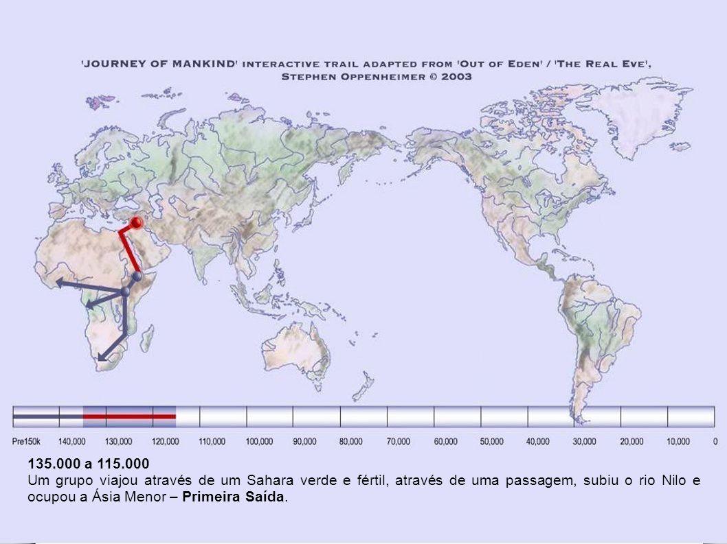 De 160.000 a 135.000 anos atrás Quatro grupos portando a primeira geração de genoma mitocondrial tipo L1 viajaram como caçadores para o sul ao Cabo da Boa Esperança, para o sudoeste até a bacia do rio Congo e para oeste rumo à Costa do Marfim.