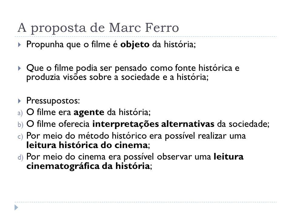 A proposta de Marc Ferro Propunha que o filme é objeto da história; Que o filme podia ser pensado como fonte histórica e produzia visões sobre a socie