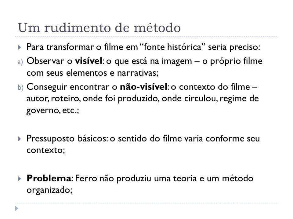 Um rudimento de método Para transformar o filme em fonte histórica seria preciso: a) Observar o visível: o que está na imagem – o próprio filme com se