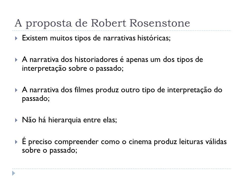 A proposta de Robert Rosenstone Existem muitos tipos de narrativas históricas; A narrativa dos historiadores é apenas um dos tipos de interpretação so