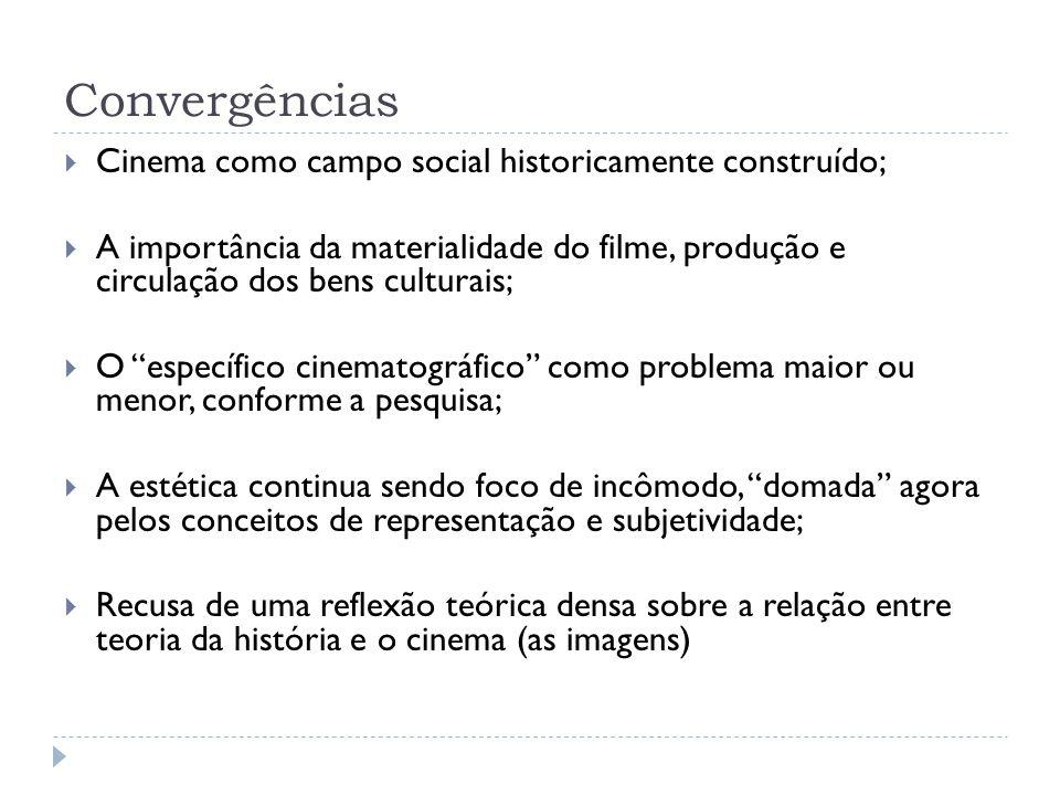 Convergências Cinema como campo social historicamente construído; A importância da materialidade do filme, produção e circulação dos bens culturais; O