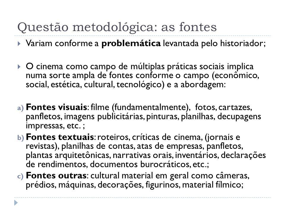 Questão metodológica: as fontes Variam conforme a problemática levantada pelo historiador; O cinema como campo de múltiplas práticas sociais implica n