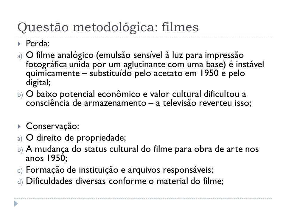 Questão metodológica: filmes Perda: a) O filme analógico (emulsão sensível à luz para impressão fotográfica unida por um aglutinante com uma base) é i