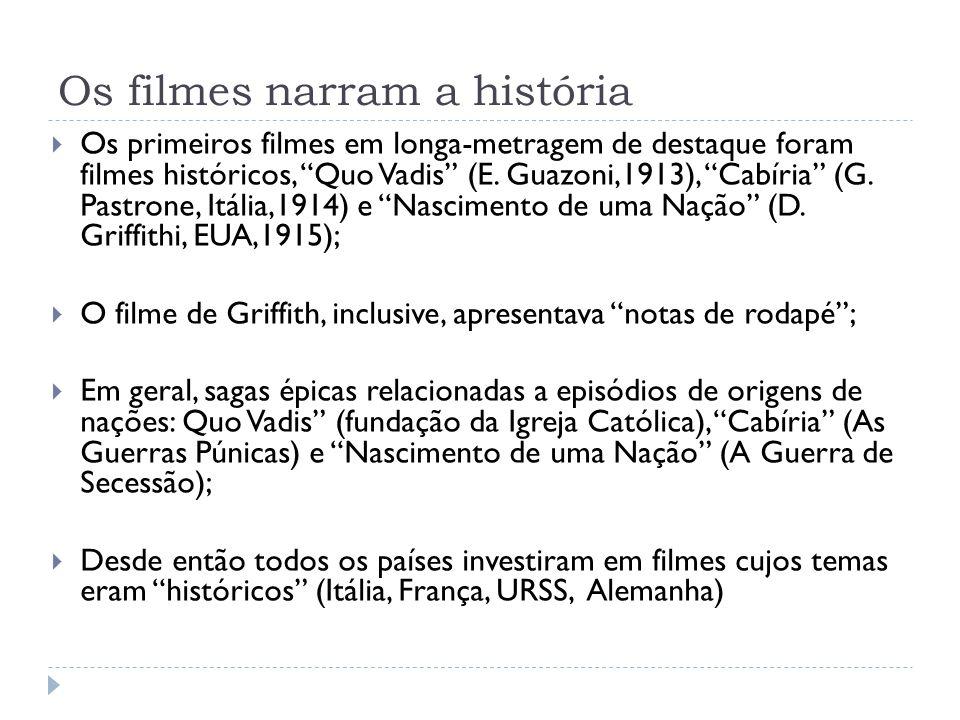 Os filmes narram a história Os primeiros filmes em longa-metragem de destaque foram filmes históricos, Quo Vadis (E. Guazoni,1913), Cabíria (G. Pastro