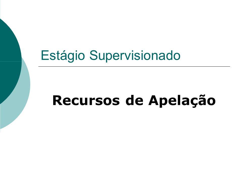 Estágio Supervisionado Recursos de Apelação