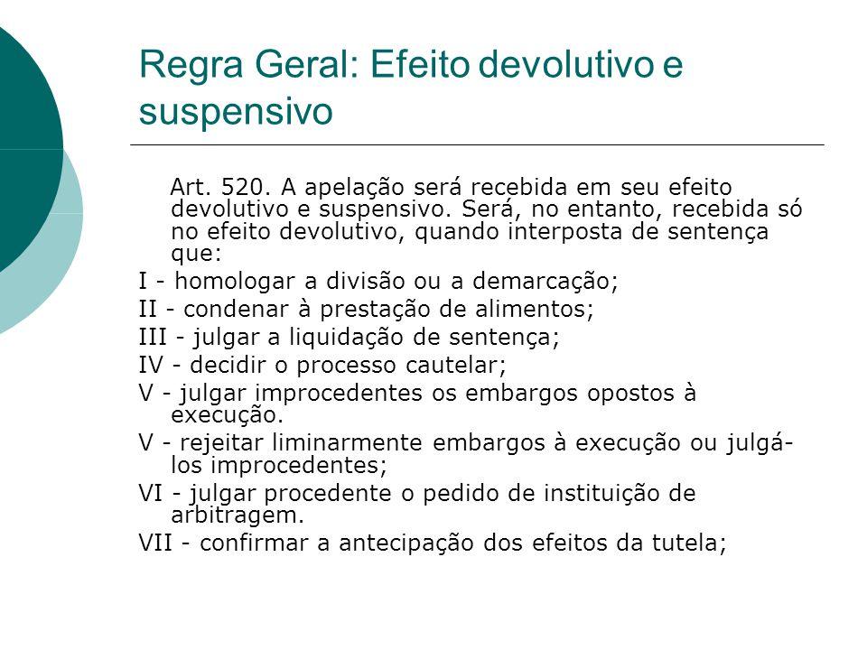 Regra Geral: Efeito devolutivo e suspensivo Art. 520. A apelação será recebida em seu efeito devolutivo e suspensivo. Será, no entanto, recebida só no