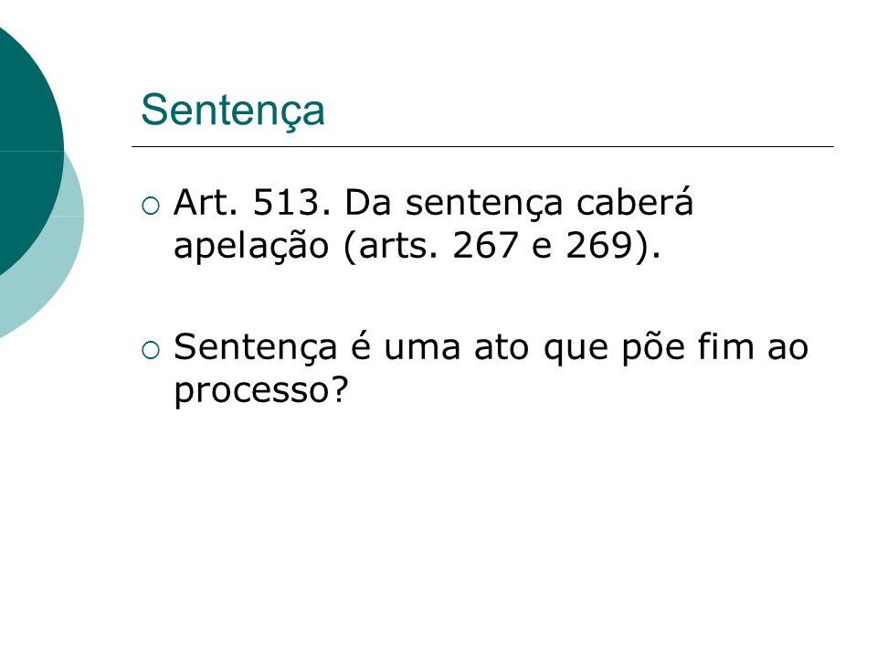 Sentença Art. 513. Da sentença caberá apelação (arts. 267 e 269). Sentença é uma ato que põe fim ao processo?
