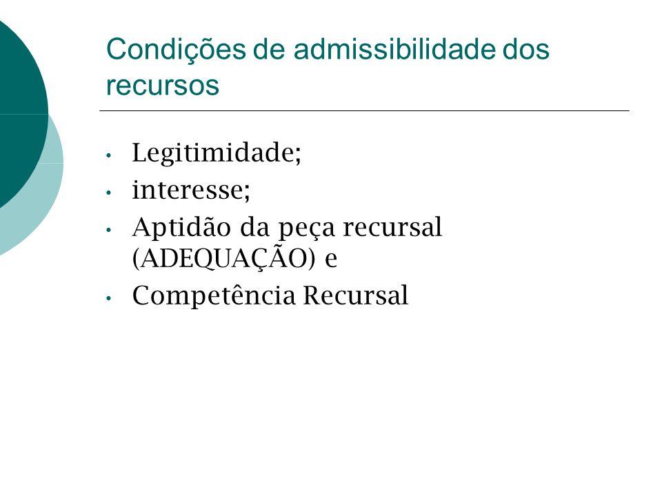 Condições de admissibilidade dos recursos Legitimidade; interesse; Aptidão da peça recursal (ADEQUAÇÃO) e Competência Recursal