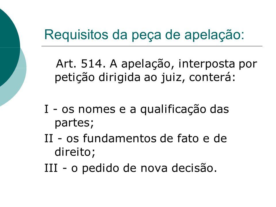 Requisitos da peça de apelação: Art. 514. A apelação, interposta por petição dirigida ao juiz, conterá: I - os nomes e a qualificação das partes; II -