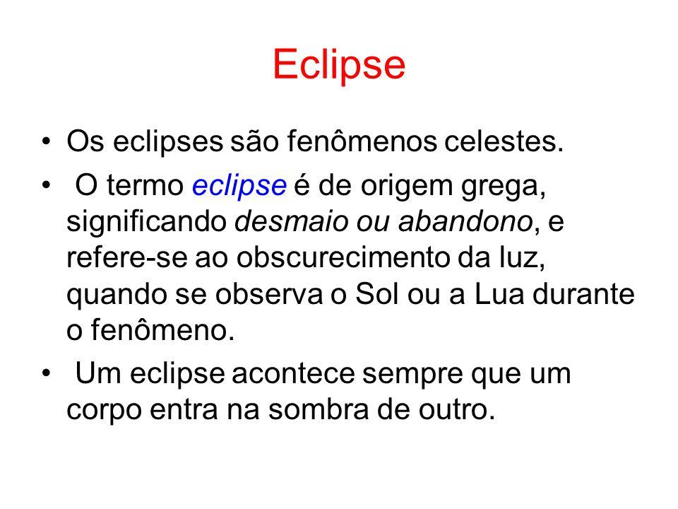 Eclipse Os eclipses são fenômenos celestes. O termo eclipse é de origem grega, significando desmaio ou abandono, e refere-se ao obscurecimento da luz,