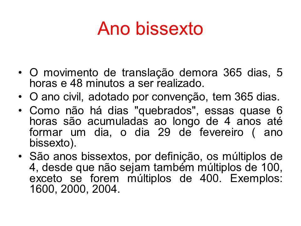 Ano bissexto O movimento de translação demora 365 dias, 5 horas e 48 minutos a ser realizado. O ano civil, adotado por convenção, tem 365 dias. Como n