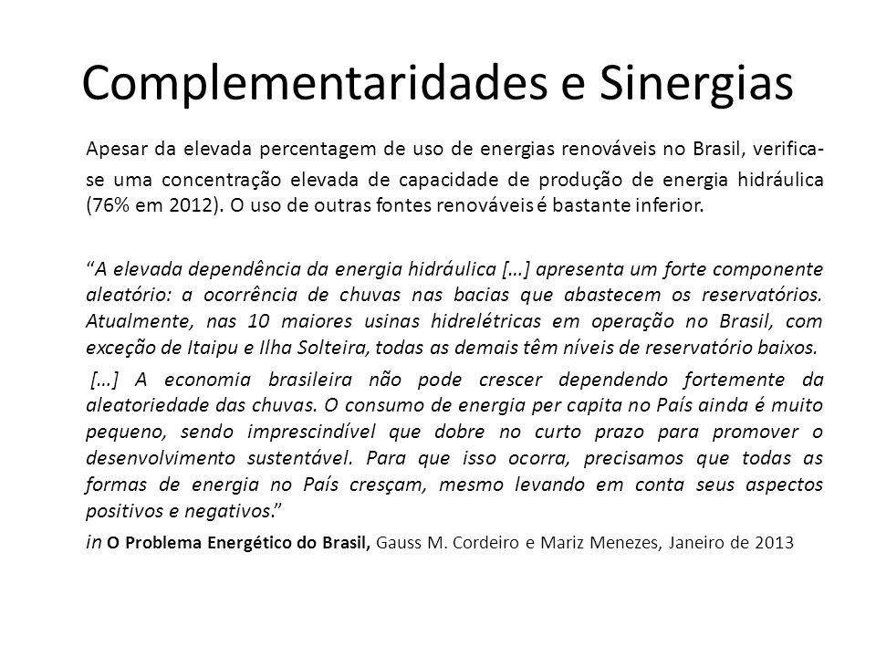 Complementaridades e Sinergias Apesar da elevada percentagem de uso de energias renováveis no Brasil, verifica- se uma concentração elevada de capacidade de produção de energia hidráulica (76% em 2012).