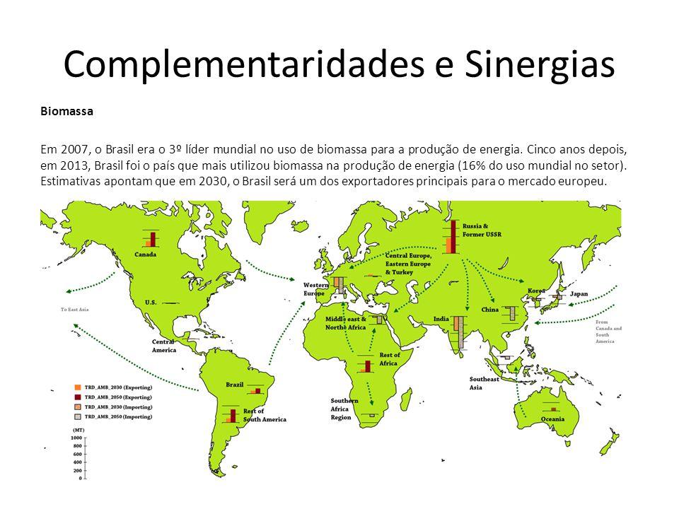 Complementaridades e Sinergias Biomassa Em 2007, o Brasil era o 3º líder mundial no uso de biomassa para a produção de energia.