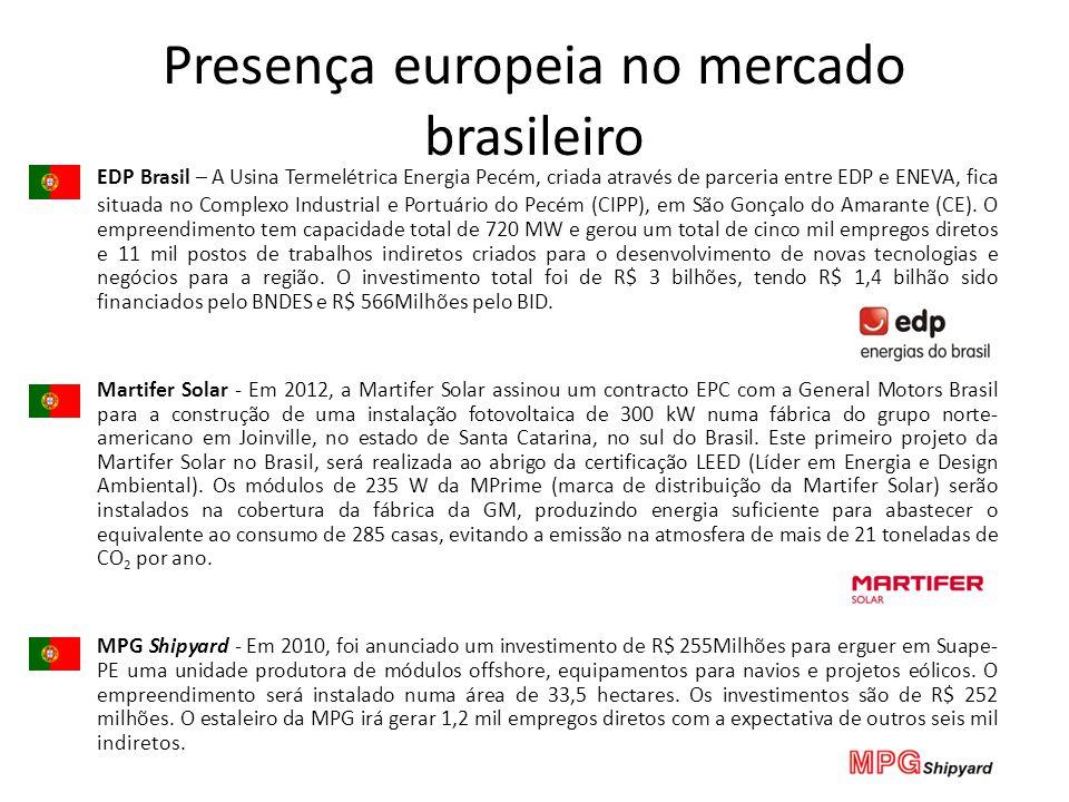 Presença europeia no mercado brasileiro EDP Brasil – A Usina Termelétrica Energia Pecém, criada através de parceria entre EDP e ENEVA, fica situada no Complexo Industrial e Portuário do Pecém (CIPP), em São Gonçalo do Amarante (CE).