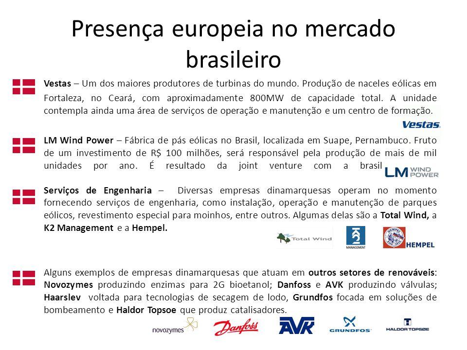 Presença europeia no mercado brasileiro Vestas – Um dos maiores produtores de turbinas do mundo.
