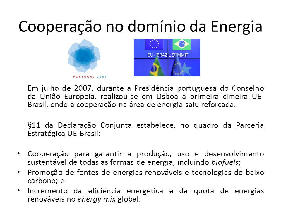 Cooperação no domínio da Energia Em julho de 2007, durante a Presidência portuguesa do Conselho da União Europeia, realizou-se em Lisboa a primeira cimeira UE- Brasil, onde a cooperação na área de energia saiu reforçada.