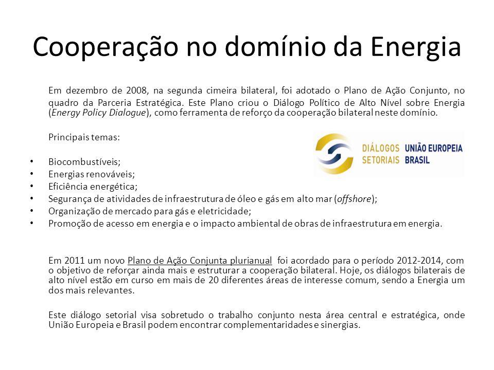 Cooperação no domínio da Energia Em dezembro de 2008, na segunda cimeira bilateral, foi adotado o Plano de Ação Conjunto, no quadro da Parceria Estratégica.